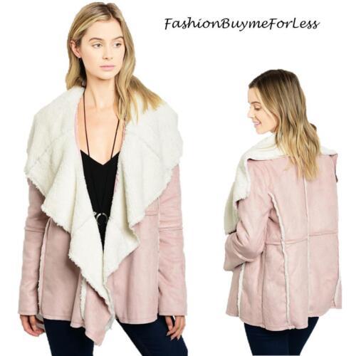 Jacket Lam S M Suede Xl Sherpa Ny Shearling Hippie Faux Boho L Coat Haute Pink 1q8vWI