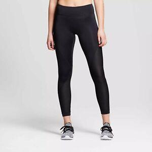 JoyLab-Womens-Performance-Asymmetrical-Mid-Rise-Leggings-XS-Black-Mesh-Inset-NWT