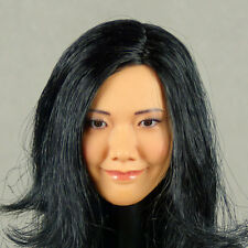 1/6 Scale Phicen, Hot Stuff - Asian Female Smiling Tan Head Sculpt w/ Black Hair
