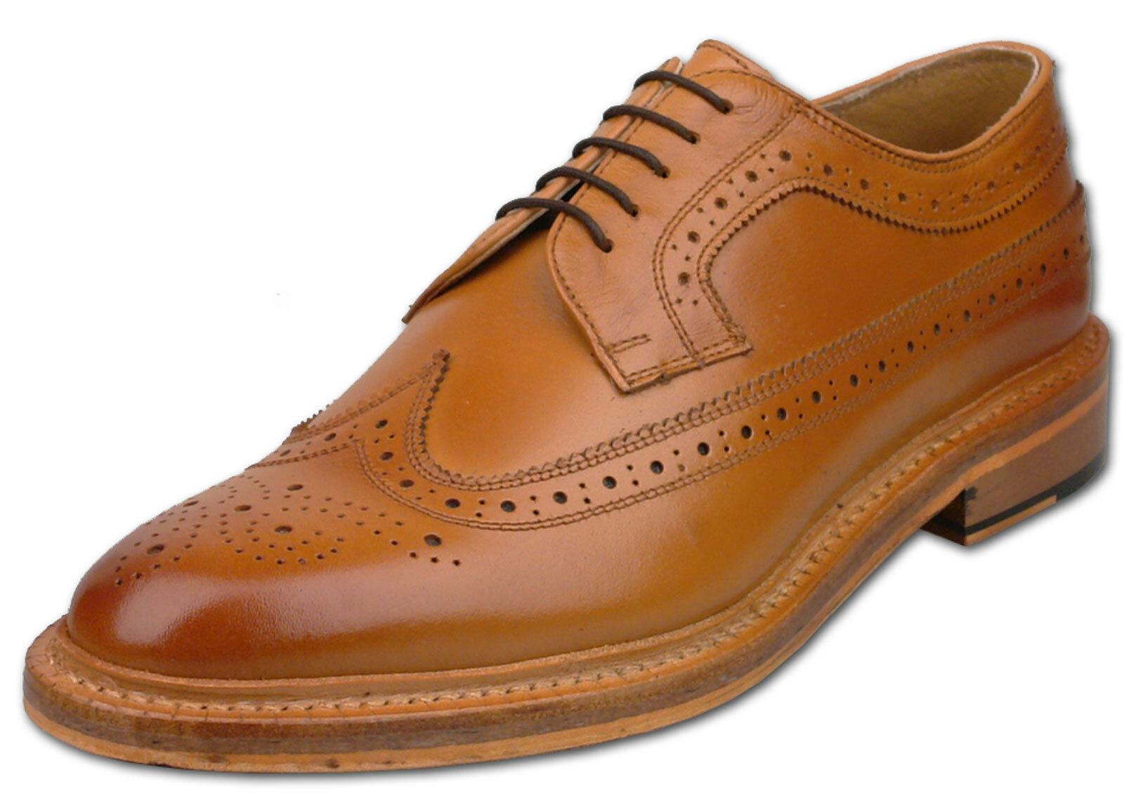 Mens New Tan Full Leather Lace Up American 7 Brogue Shoes Size 6 7 American 8 9 10 11 12 e8935c