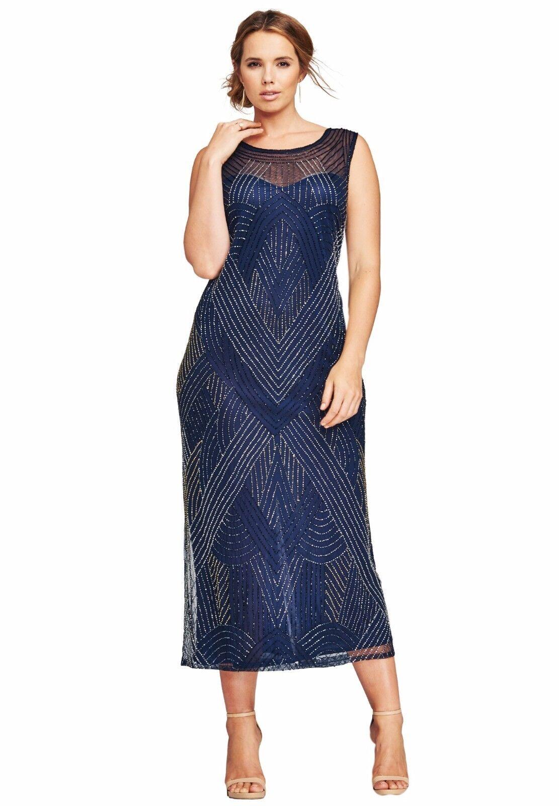Navy Blau Beaded V Neck Dress Gown 14W - 24W Plus Größe