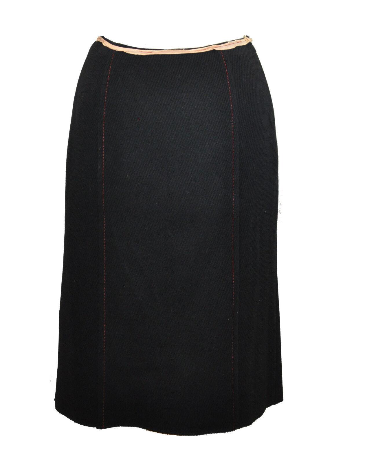 Miu Miu  Wool Skirt  40  Red Stitch Detail  Pink Trim