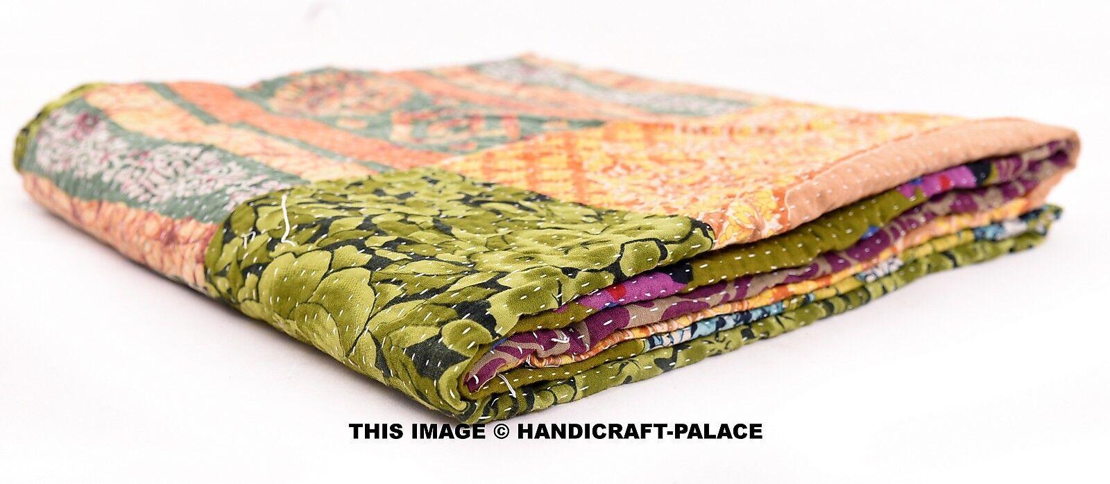 Indian Vintage Kantha Quilt Patchwork Cotton Twin Bedspread Home Decor Blanket