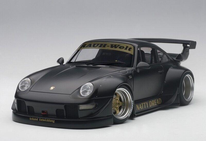 1 18 Autoart-Porsche 993 RWB (Matt nero oro Wheels)