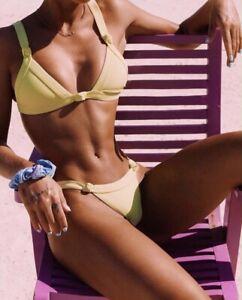 M S Khassani Swimwear Praia Thong Bikini Set: Red White L Yellow /& Black XS