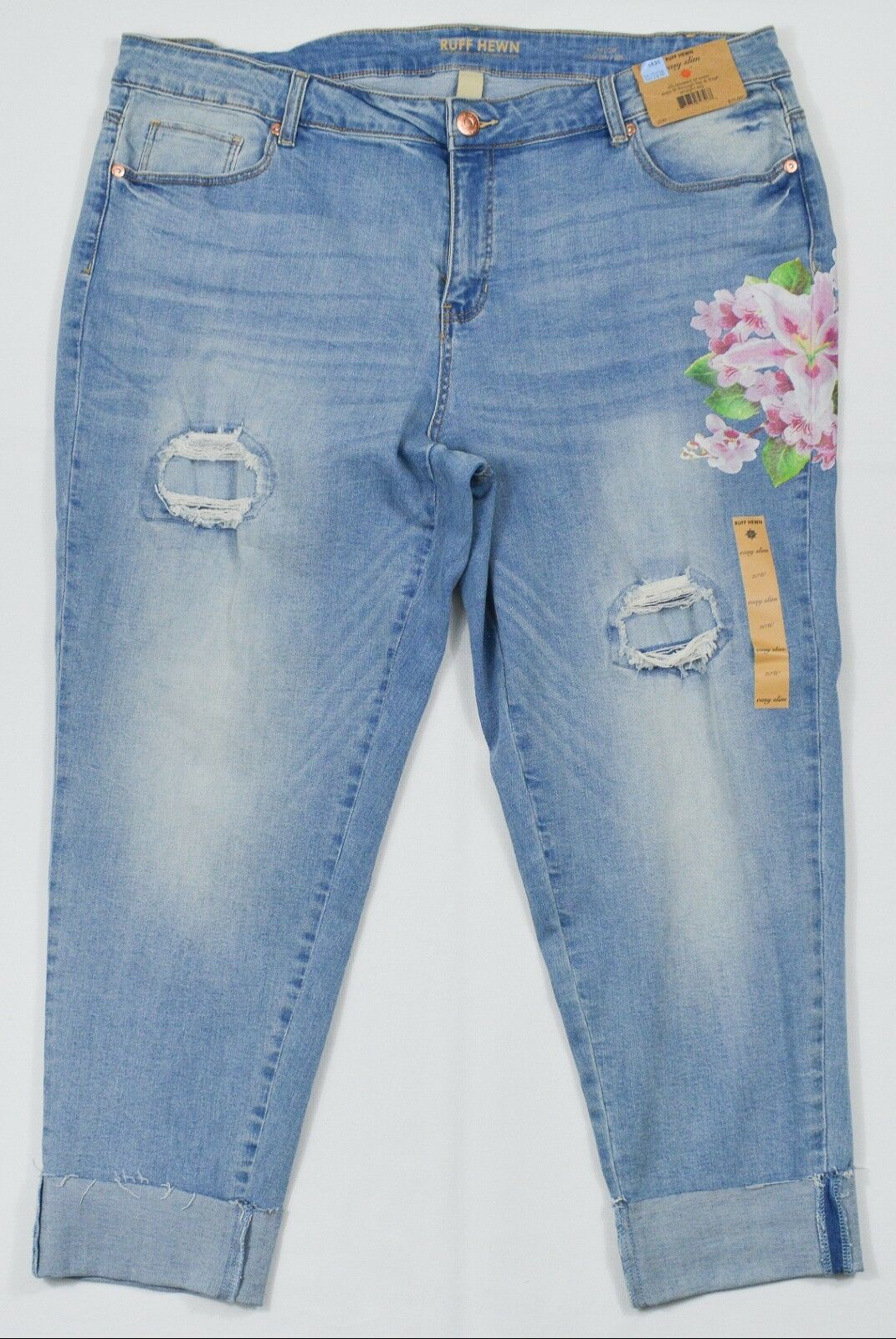 863327c0fff Ruff Hewn 5 Pocket Embroidered Blue Jeans Easy Slim Size 24w for ...