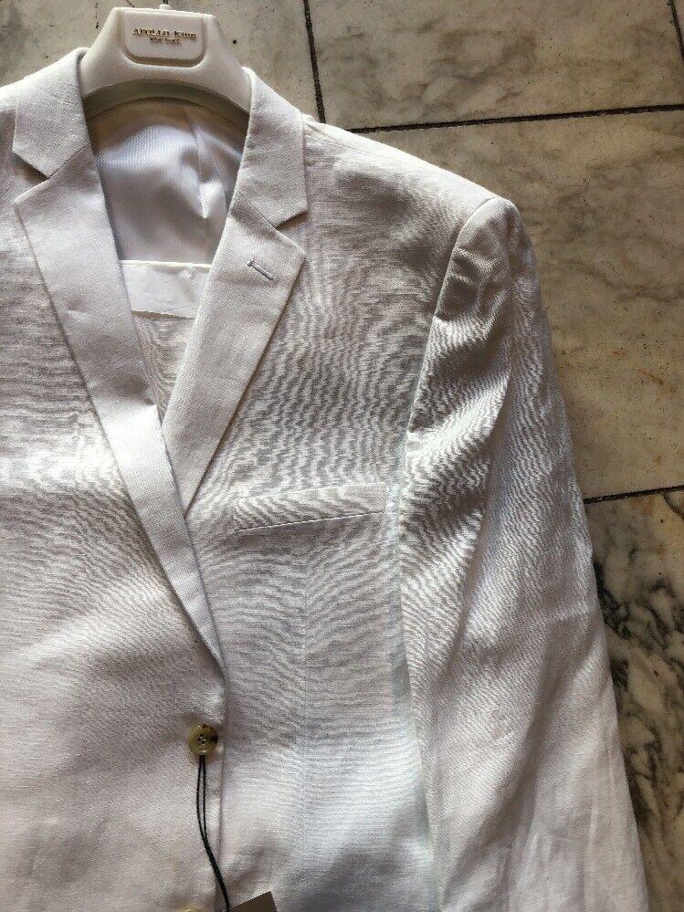 NWT APOLLO KING Classic Fit Men's 100% Linen Suit Lined White color 2BT Size 54L