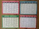 Lot de 4 Anciens minis calendriers de poche Loterie Nationale