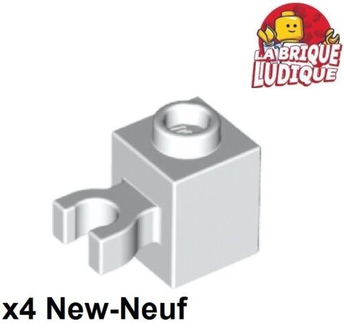 Lego 4x Brique Brick Modified 1x1 Vertical O Clip blanc//white 30241b NEUF