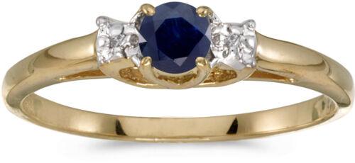 10k Yellow Gold Round Sapphire And Diamond Ring CM-RM1575-09