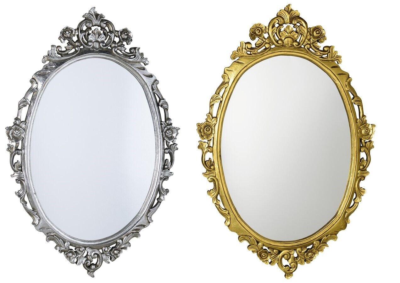 Badspiegel Spiegel Holzrahmen handgeschnitzt 80x100 cm oval Antik Silber   Gold