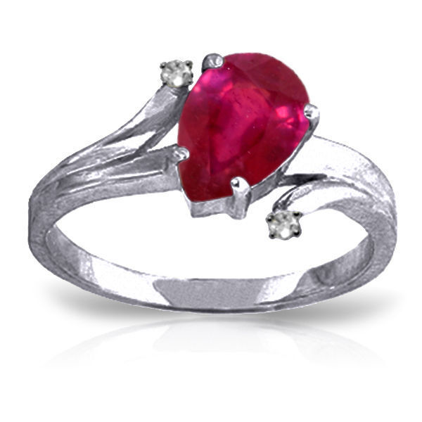 Genuine Red Ruby Pear Cut Gem & Diamonds Ring in 14K. Yellow, White, pink gold