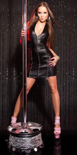 Minikleid in Lederoptik mit silbernen Reißversc Stretchkleid Wetlook Neckholder