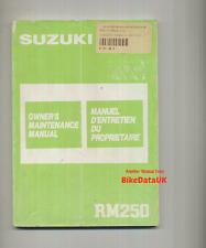 Suzuki RM250-H (1987) Owners Factory Service Repair Shop Manual Book RM 250 VMX