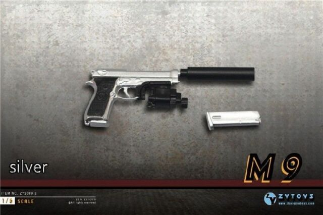 """1:6 Scale Weapon Model Silver Pistol Gun Model Toy For 12/"""" Action Figure"""