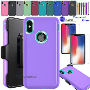 For Apple iPhone X XS MAX XR Case, Shockproof Rugged Cover w/ Clip Belt Holster