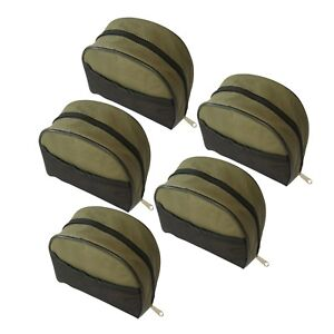 Pack of 5 MDI Zipped Green Fishing Reel Case with Mesh Pocket - (Size 20x20x9cm)