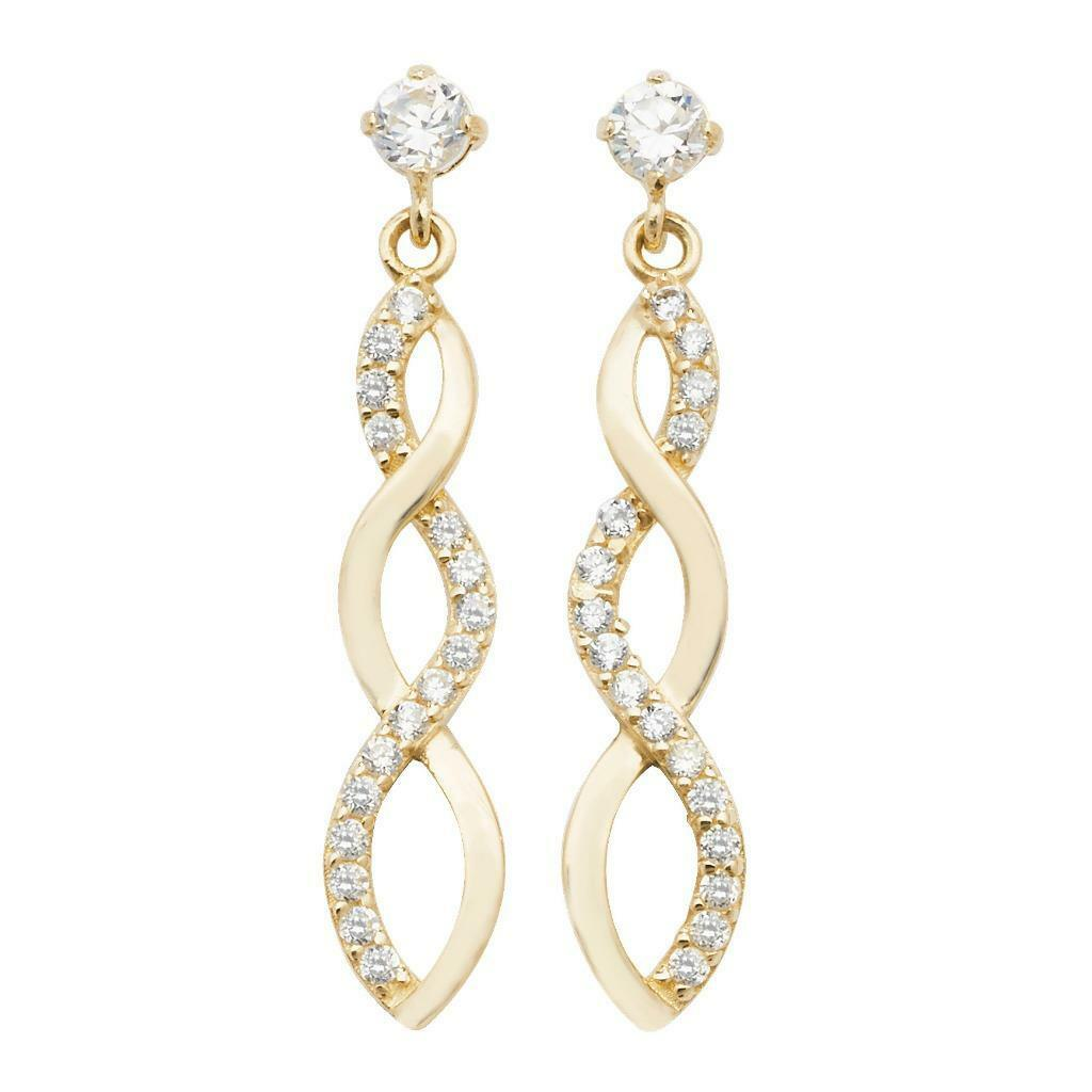 9ct Yellow gold & Cubic Zirconia Twisted Infinity Drop Earrings 20x4mm