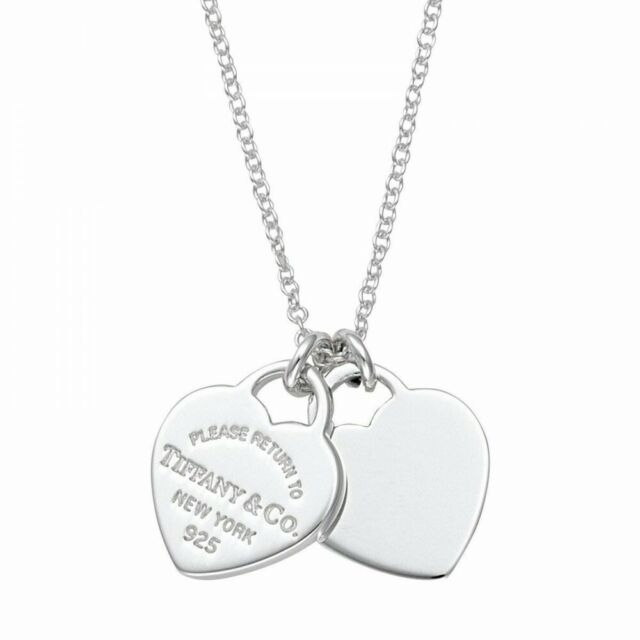 22309307 Tiffany Co Sterling Silver Rtt Double Heart Pendant Necklace Mini For Sale Online Ebay