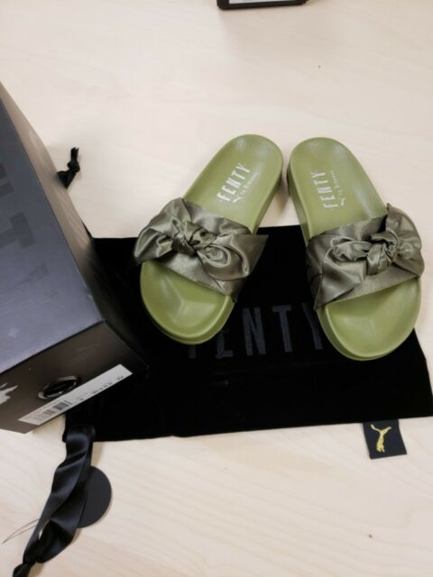 info for abc58 dc505 PUMA Womens Fenty by Rihanna Green Bow Slide 36577401 Sandals Shoes 5.5