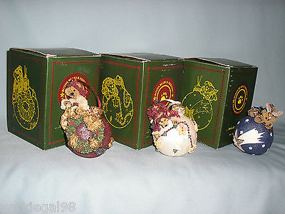 Boyd's Bears Set of 3 Bearstone Collection Christmas Ornaments + Boxes
