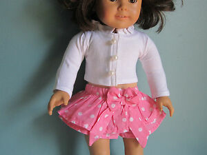 PINK RUFFLED POLKA DOT SKIRT /& Knit Shirt with Pearl Buttons fits American Girl