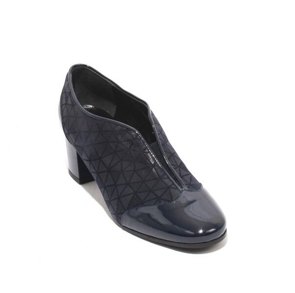 Isabelle 25b Navy Patent Leather Suede Elastic Booties Heel shoes 38   US 8