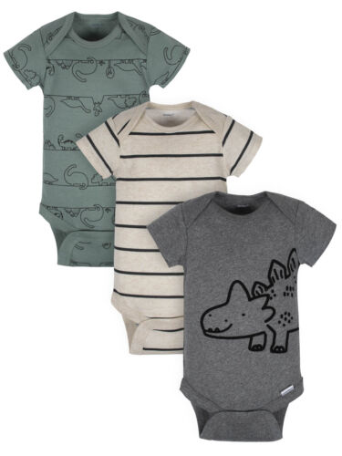 Gerber Baby Boy/'s 3 Pack Organic Short Sleeve Onesies Size Newborn Dino