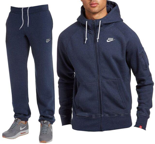 Nike Foundation Mens Full Fleece Tracksuit Hoodie Bottoms Jogging Navy  (#8470)