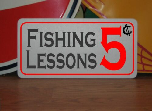 FISHING LESSONS 5 Cent Metal Decor Man Cave Home Bar Lodge Beach Boat Lake House