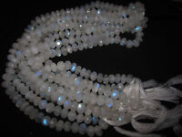 """10"""" Natural Fire Play RAINBOW MOONSTONE Faceted Rondelle GEMSTONE BEADS Strand"""