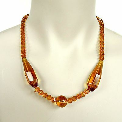 Vintage Honey Amber Color Lucite Necklace Multifaceted Beads Jewelry Costume Old
