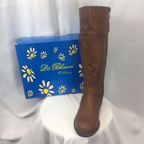 NIB DE BLOSSOM Women/'s mid calf military combat boot Cognac CANA-7