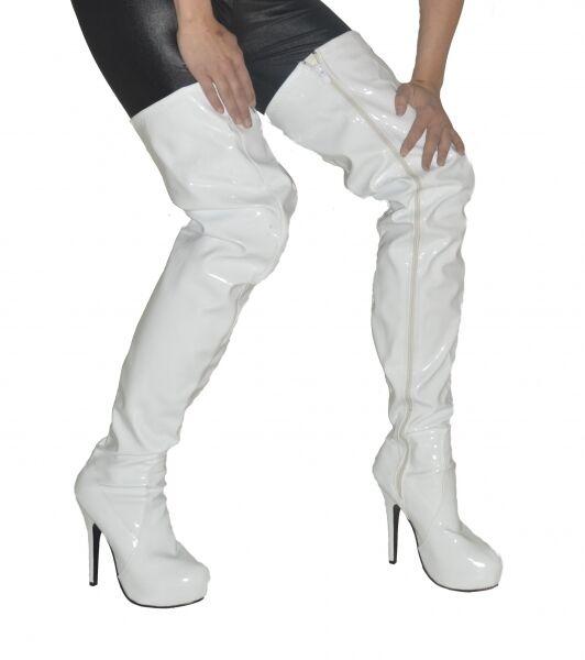 Herrenstiefel Lackstiefel Damenstiefel neu neu neu weiß Stiefel Übergrößen Schuhe High-Heel 5615b0