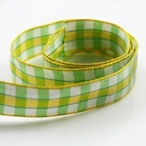3-METRES-GREEN-YELLOW-amp-WHITE-13mm-CHECKED-POLYESTER-RIBBON-CARDMAKING-R5510