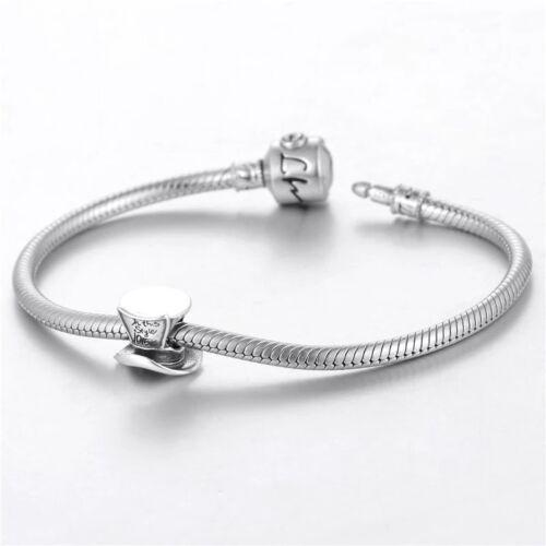 Mad Hatter Charm REAL 925 Sterling Silver Bead Bracelet Alice in Wonderland Gift