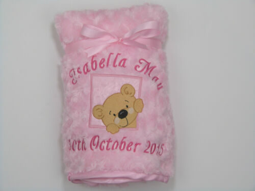 Personalised Baby Blanket Luxury Embroidered Rose Swirl Fluffy Soft Satin Trim