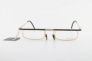 CHAI-Brille-Mod-Ba-Fg-2-493-50-22-150-Vintage-Eyeglasses-Frame-Square-Gold-NOS