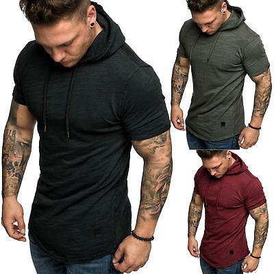 Herren Oversize Vintage Verwaschen Kurzarm Hoodie Kapuzen Shirt 4048   eBay