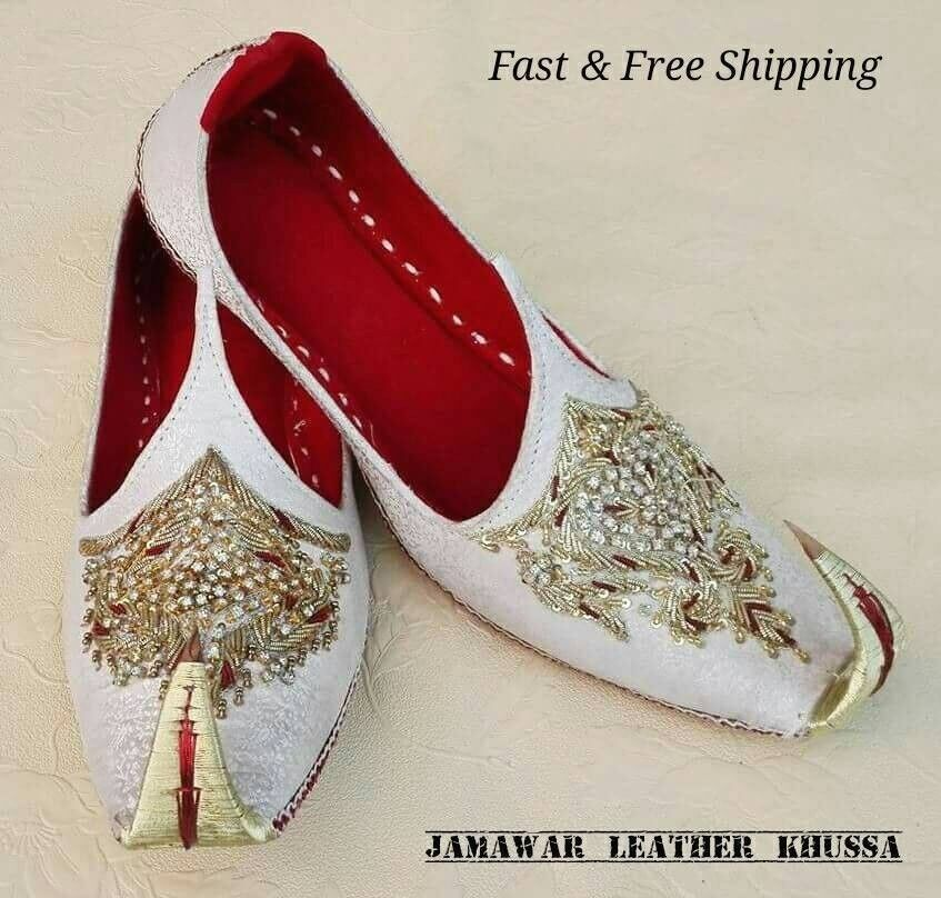 JAMAWAR US 7-11 MEN HANDMADE IVORY TRADITIONAL  LEATHER KHUSSA