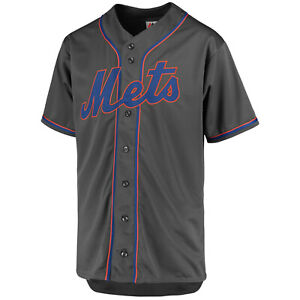 super popular 51c41 89893 Details about NEW Majestic New York Mets Gray Perfromance V-Neck Button  Down Jersey 3XL 3X