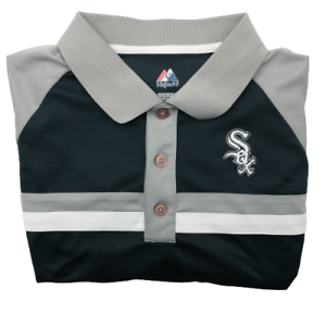 Majestic Chicago White Sox Stripe Black Golf Polo Men's XL Polyester Performance