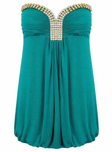 Ladies Bandeau Top Green New Look New Gem Look Strapless Summer Womens Beach
