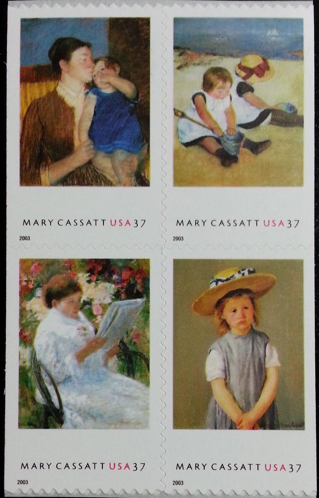 2003 37c Mary Cassatt Paintings, Block of 4 Scott 3804-