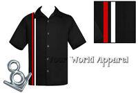 STEADY CLOTHING MENS V-8 RACER BLACK RED BOWLING LOUNGE ROCKABILLY RETRO SHIRT
