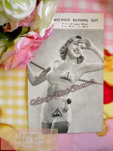 Vintage 40s Knitting Pattern Ladys /'Yacht /& Pom-pon/' Bikini FREE P/&P!!!