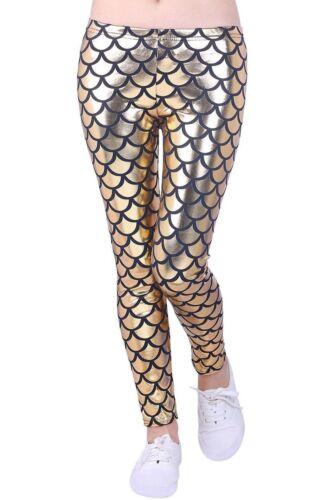 New Kids Mermaid Fish Scale Print Slim Fit Shiny Disco Metallic Leggings Pants