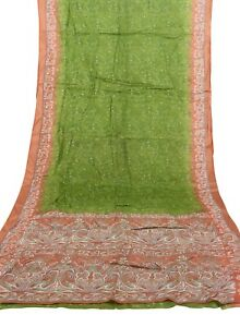 Vintage-Indian-Saree-100-Pure-Crepe-Silk-Printed-Sari-5-Yard-Fabric-Green-Color