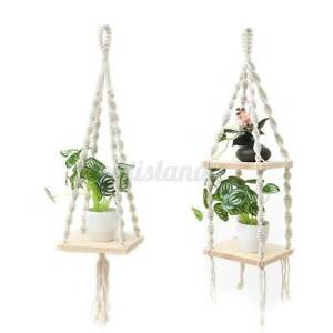 Wooden-Shelf-Floating-Wall-Shelves-Mounted-Storage-Plant-Rack-Display-Hom-US