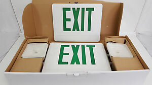 Combo-LED-Emergency-Light-Exit-Sign-CXTEU2GWRC-Double-Face-Green-Letters